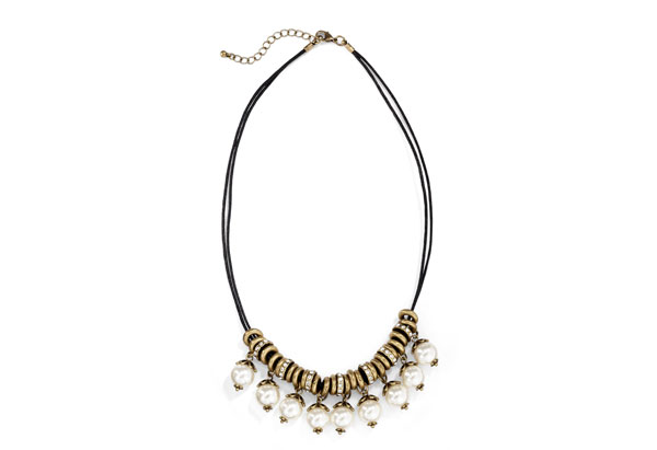 cord necklace with dangling pearls