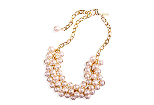 triple-strand glass pearl necklace