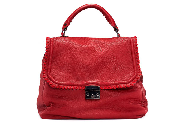 red pebbled leather bag