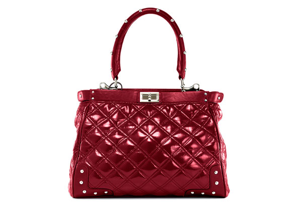 red quilted satchel