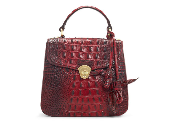 red crocodile-embossed leather bag