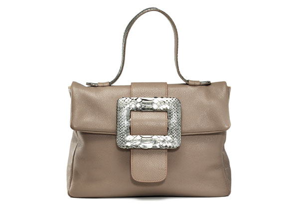 taupe bag with silver buckle