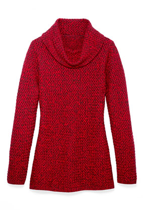 red cowlneck sweater