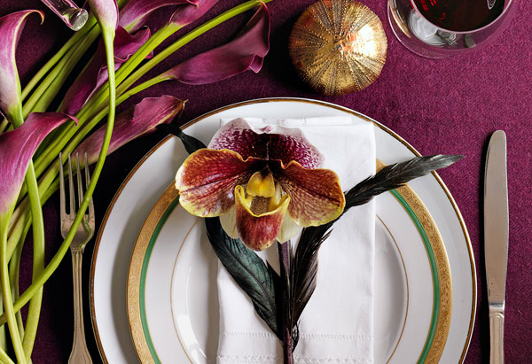 placesetting with purple orchid
