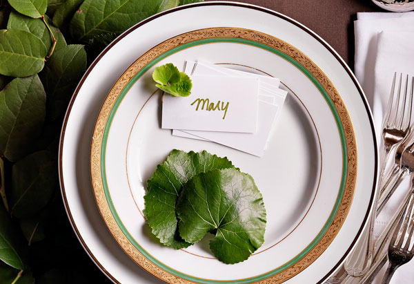 placesetting with leaves