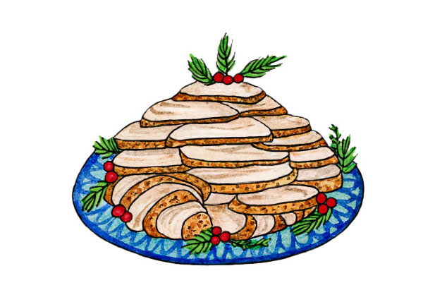 Tray of sliced turkey