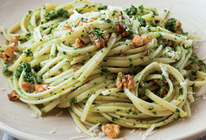 Linguine with Walnut & Broccoli Rabe Pesto