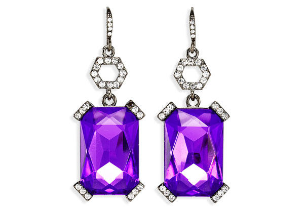 purple geometric earrings
