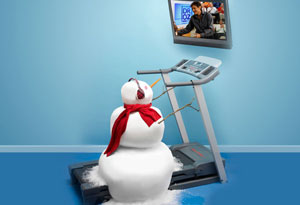 Snowman on treadmill watching Dr. Oz on tv