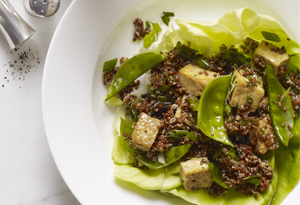 Quinoa Salad with Sugar Snap Peas, Tofu, and Ginger Vinaigrette