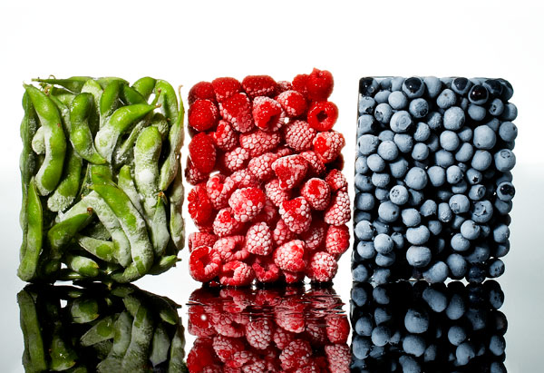 Frozen peas, raspberries and blueberries
