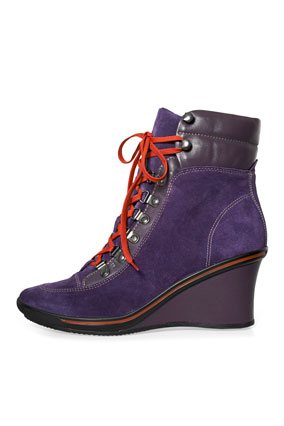 purple wedge boots