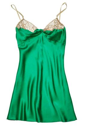 crocheted green slip