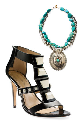 Colorful necklace and patterned shoe