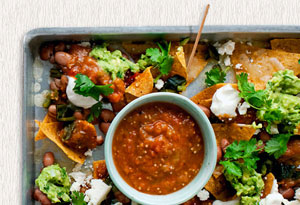 Nachos with Poblanos, Fresh Salsa, and Guacamole