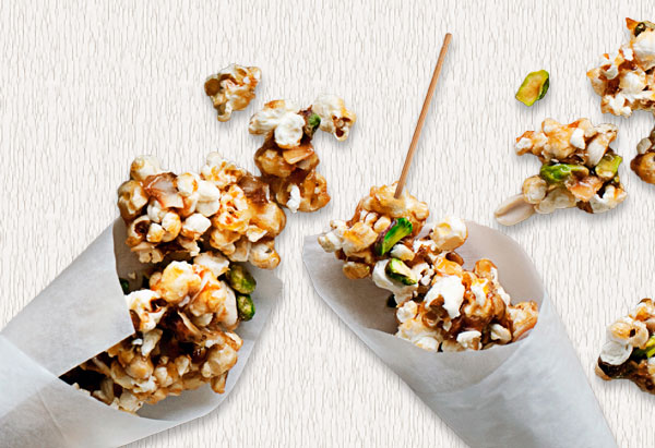 Caramel Corn with Peanuts, Pistachios, and Coconut