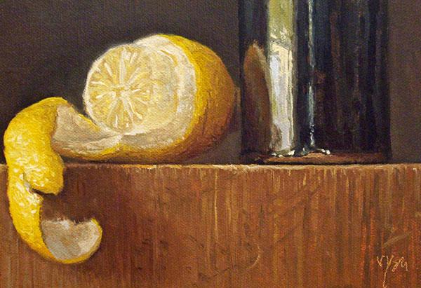 Still Life with Peeled Lemon and Temmoku Bottle