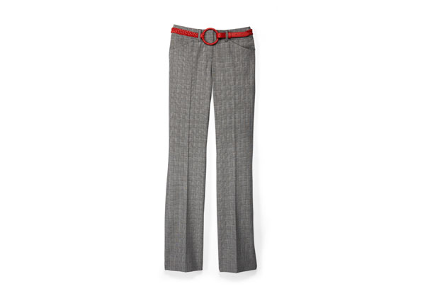 grey trousers with red belt