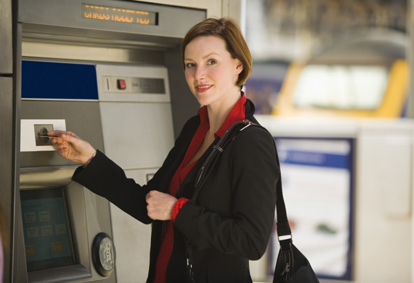 Woman at ATM