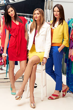 Models in colorful clothes