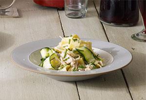 Zucchini and Tuna Pappardelle