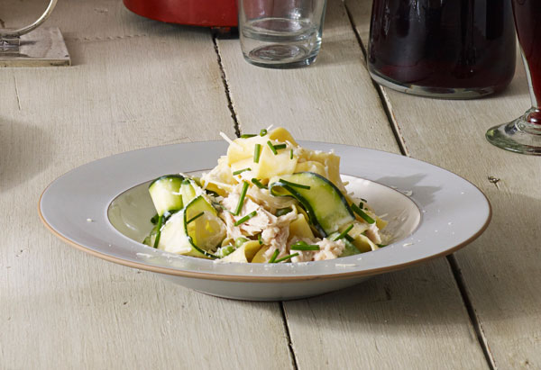 Zucchini and Tuna Pappardelle