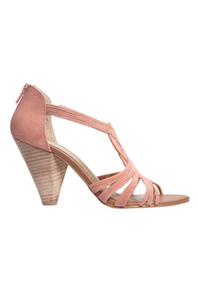 blush suede conical heels