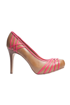 tan platforms with hot-pink criscrossing