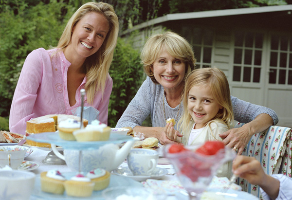 Tea party with grandmother, mother and daughter