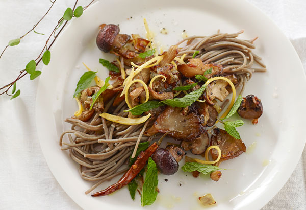 Buckwheat Soba Noodles with Sauteed Mushrooms, Shallots and Mint