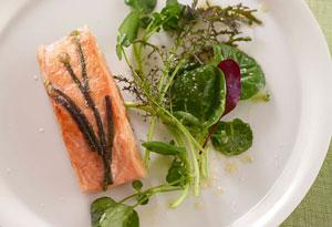 crispy wild salmon in rice paper