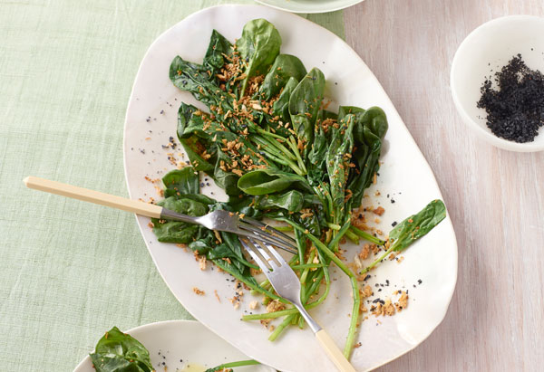 Wilted Spinach with Golden Sesame-Garlic Crumbs