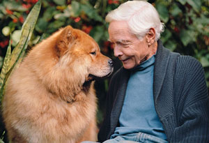 W.S. Merwin with his Chow, Peah
