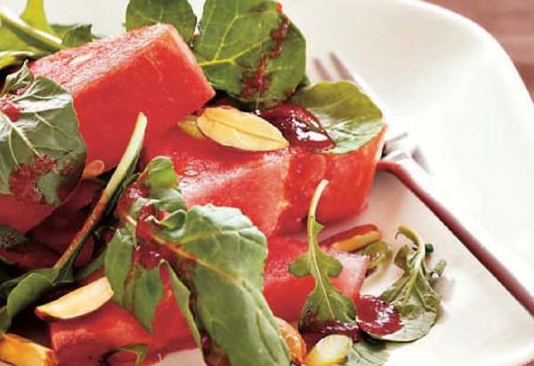 Watermelon, Arugula, and Toasted-Almond Salad Recipe