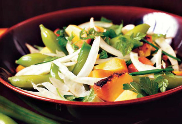 Sugar Snap Peas with Fennel, Onions and Grilled Peach Dressing Recipe