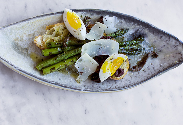 Asparagus with Farm-Fresh Eggs and Dry Jack Cheese Recipe