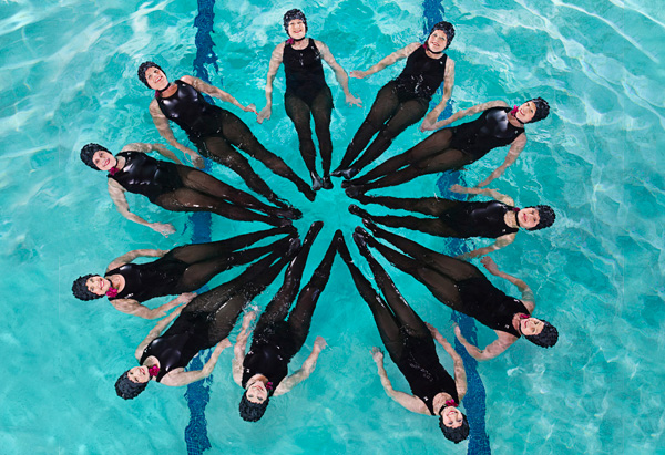 Synchronized swimmers in pool