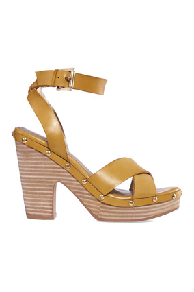 high-heel leather sandal