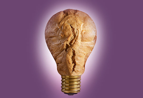 Light bulb made out of bread