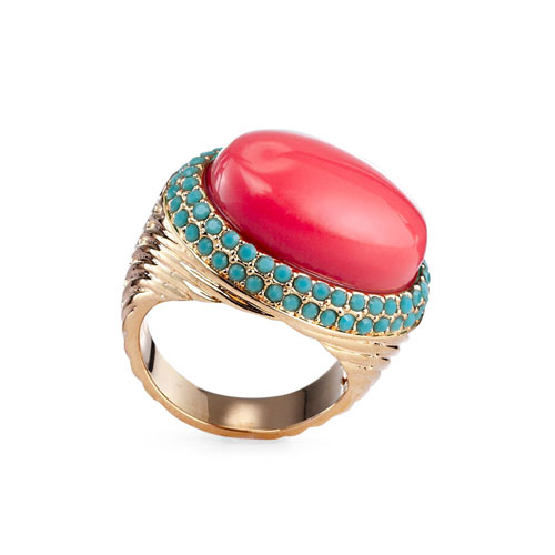 Fantasy Jewelry Box Faux Coral and Turquoise Cocktail Ring