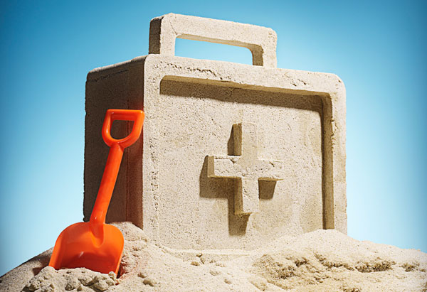 First-aid kit made out of sand