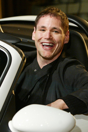 David Caruso in his new Porsche, a gift from Oprah