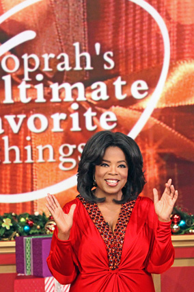 "Oprah during her final ""Favorite Things"" show"