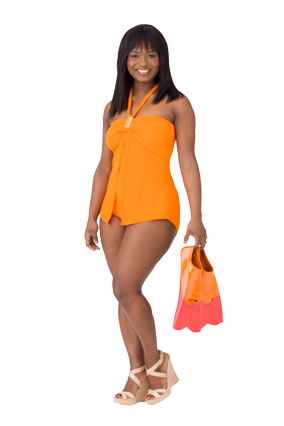 Swimsuit for pear-shaped woman