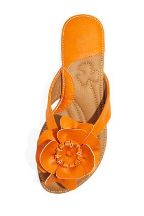Laila Rowe orange blossom-topped sandal