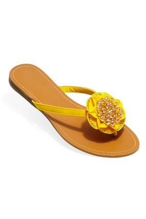 yellow crystal-beaded thong sandal