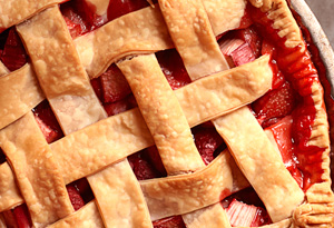 strawberry-rhubarb-raspberry lattice pie