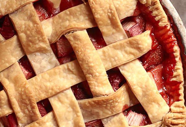 Strawberry-Rhubarb-Raspberry Pie