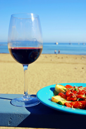 Red wine on beach