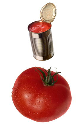 Fresh tomatoes and canned tomatoes